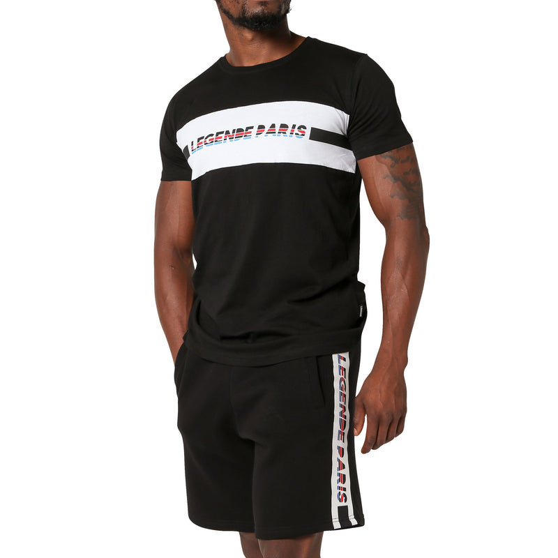 LEGENDE TAPPERED FLC SHORT  - BLACK/WHITE