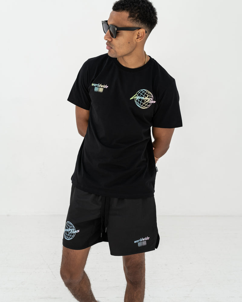 WORLDWIDE IMPORT EXPORT GLOBE TEE BLACK
