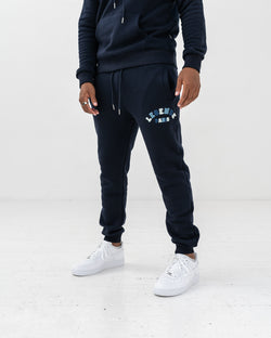 CHENILLE TRACK PANT  -  NAVY/MULTI