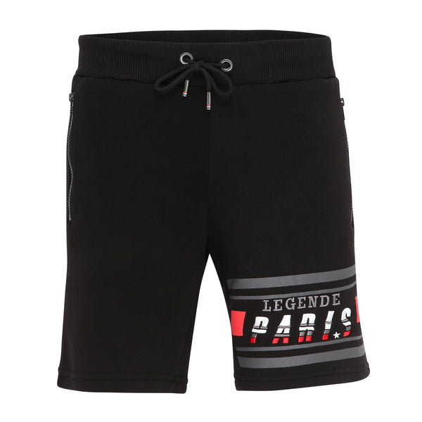 LEGENDE STRIPE FLC SHORT  - BLACK/RED/GREY