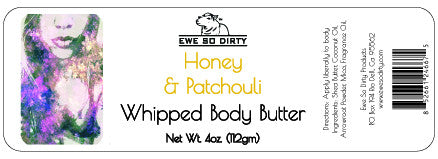 Whipped Shea Body Butter, HONEY & PATCHOULI, 3 oz