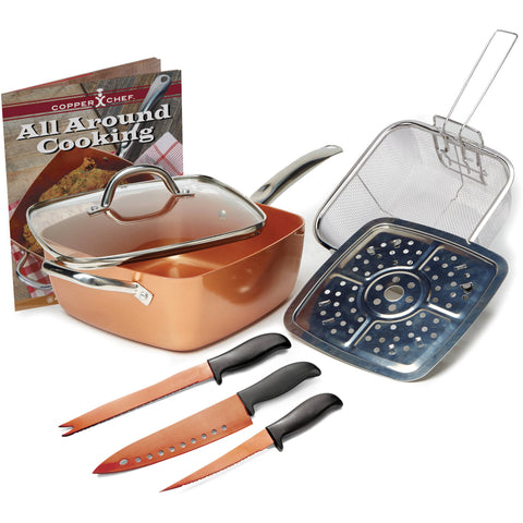 COPPER CHEF 9 1/2 Deep Dish Square Pan 8 piece set with extra BONUS