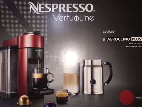 Nespresso VertuoLine Evoluo Coffee & Espresso Maker w/ Aeroccino Plus Milk Frother, Red - New
