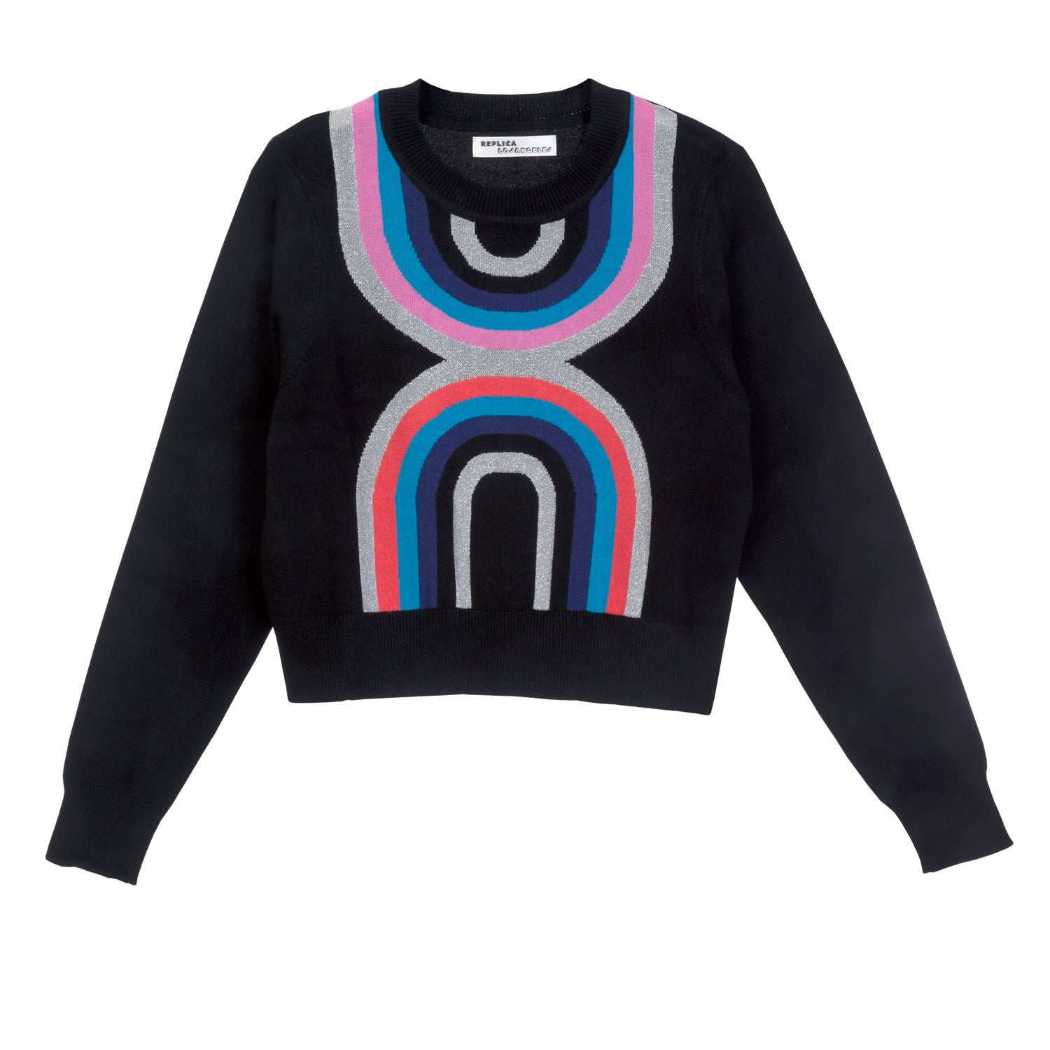 Wool Cashmere and Lurex Stella Stripe Cropped Sweatshirt