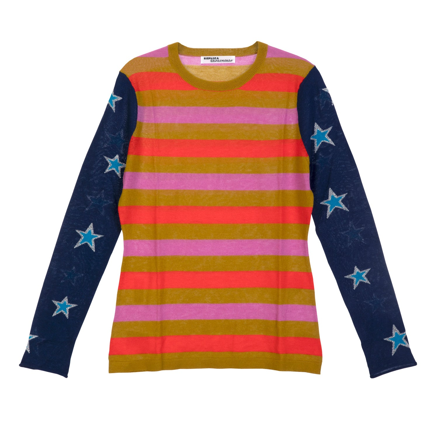 Cashmere Striped Long Sleeve Tee with Stars On Sleeves