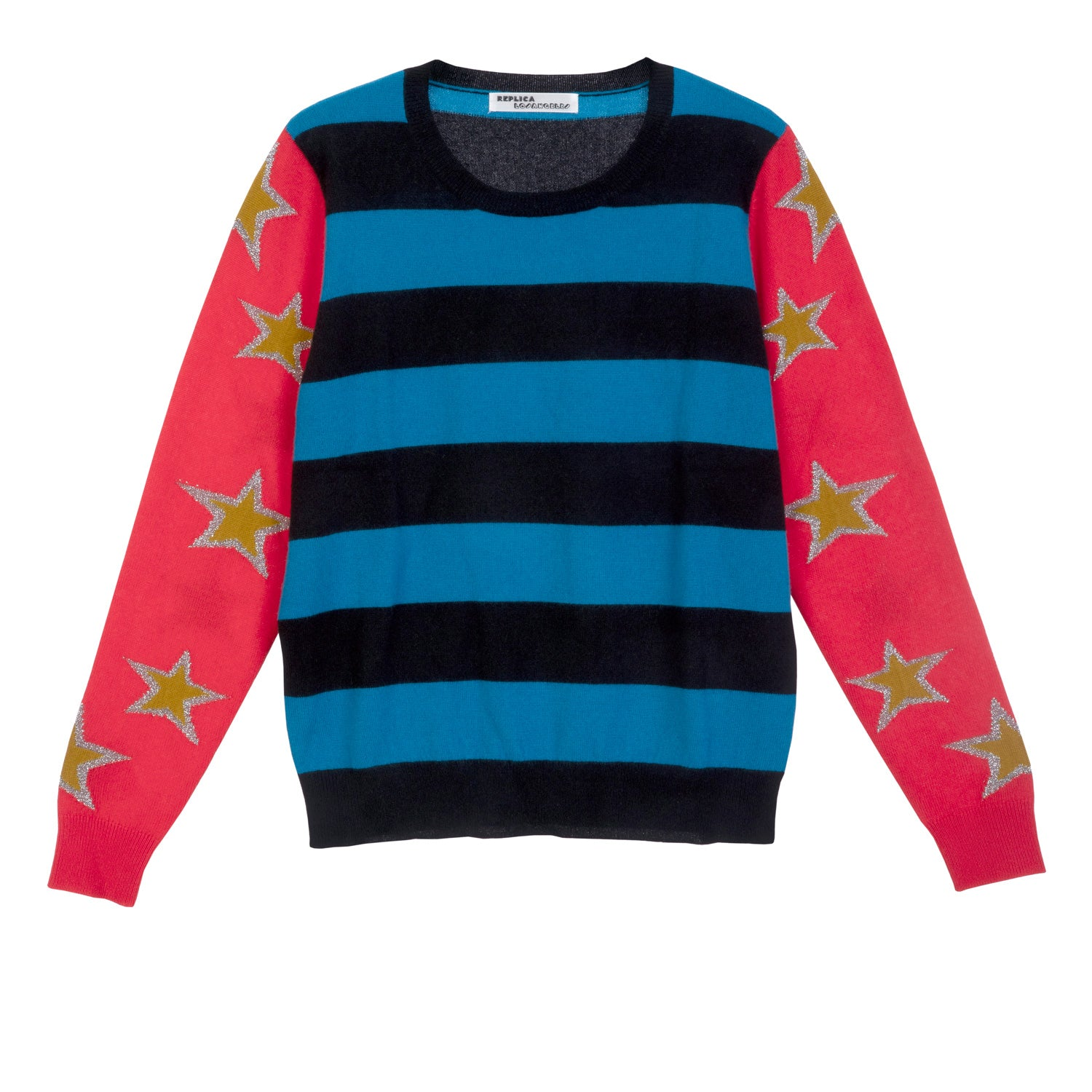 Cashmere and Lurex Striped Sweatshirt with Stars on Sleeves