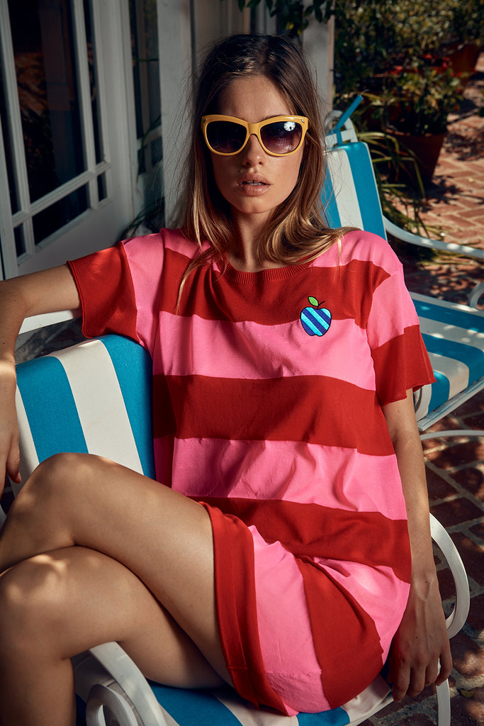 RUGBY STRIPE BOYFRIEND T-SHIRT DRESS