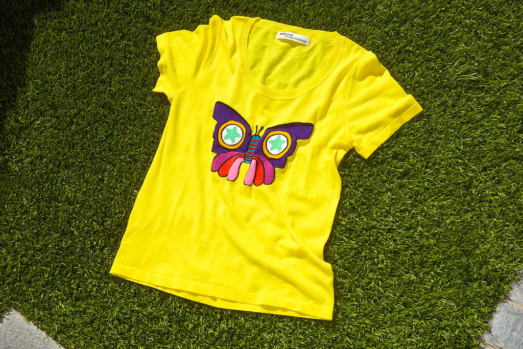 BUTTERFLY INTARSIA COTTON FRENCH TEE