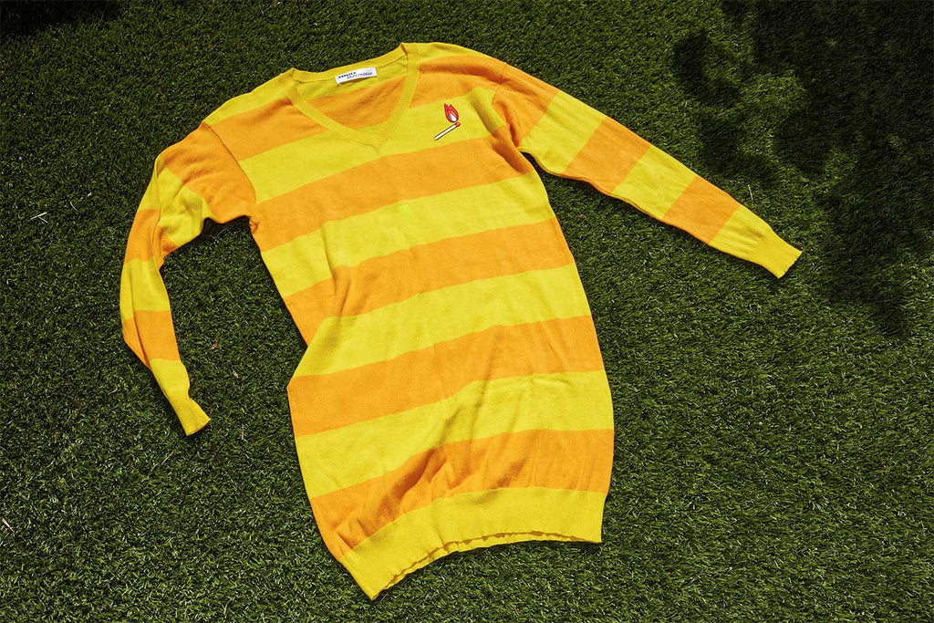 YELLOW RUGBY STRIPE SWEATSHIRT DRESS