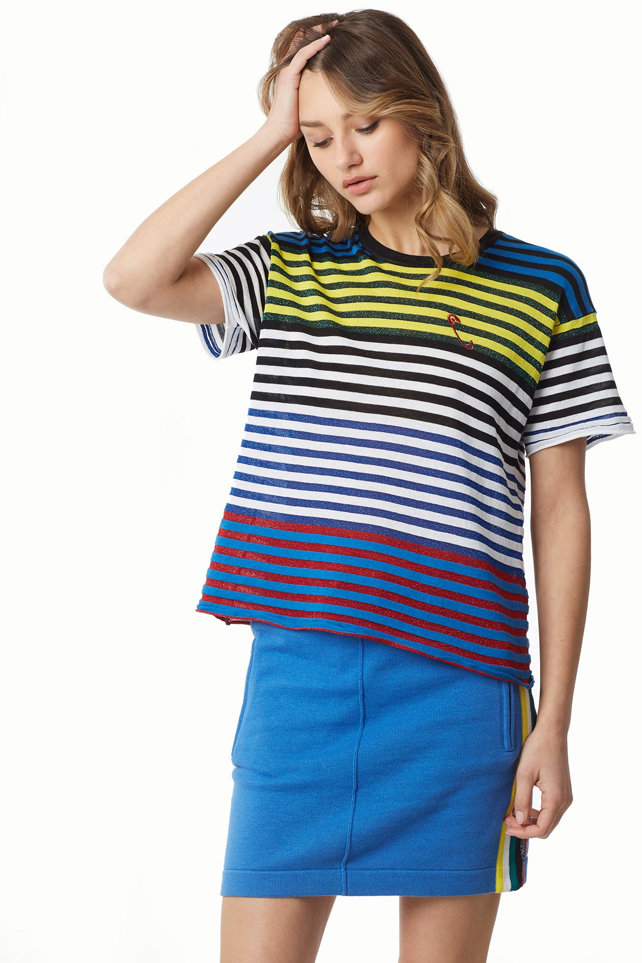 Cotton Modal Lurex Cool Stripe Boyfriend Tee