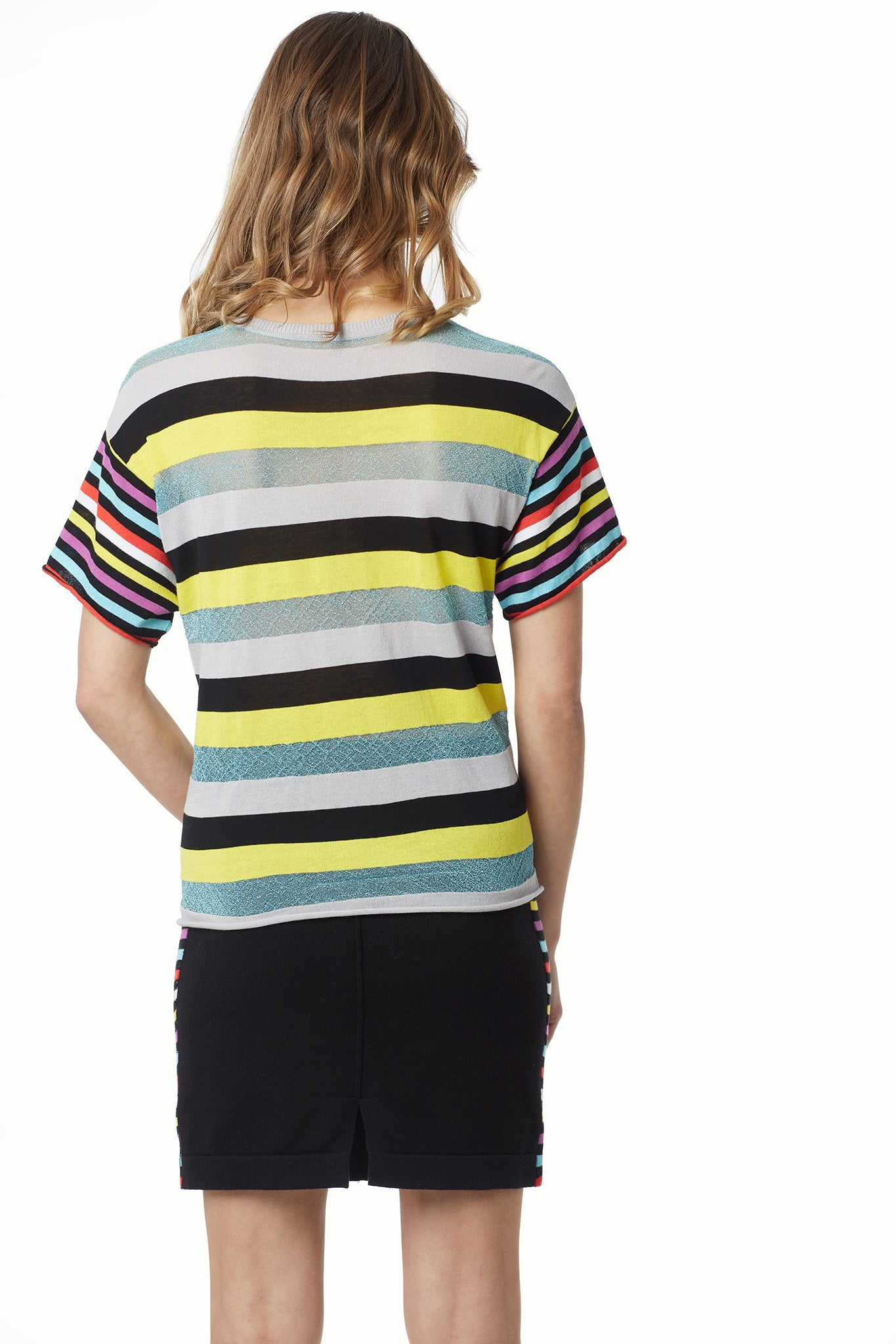 Cotton Modal Lurex Mix Stripe Boyfriend Tee
