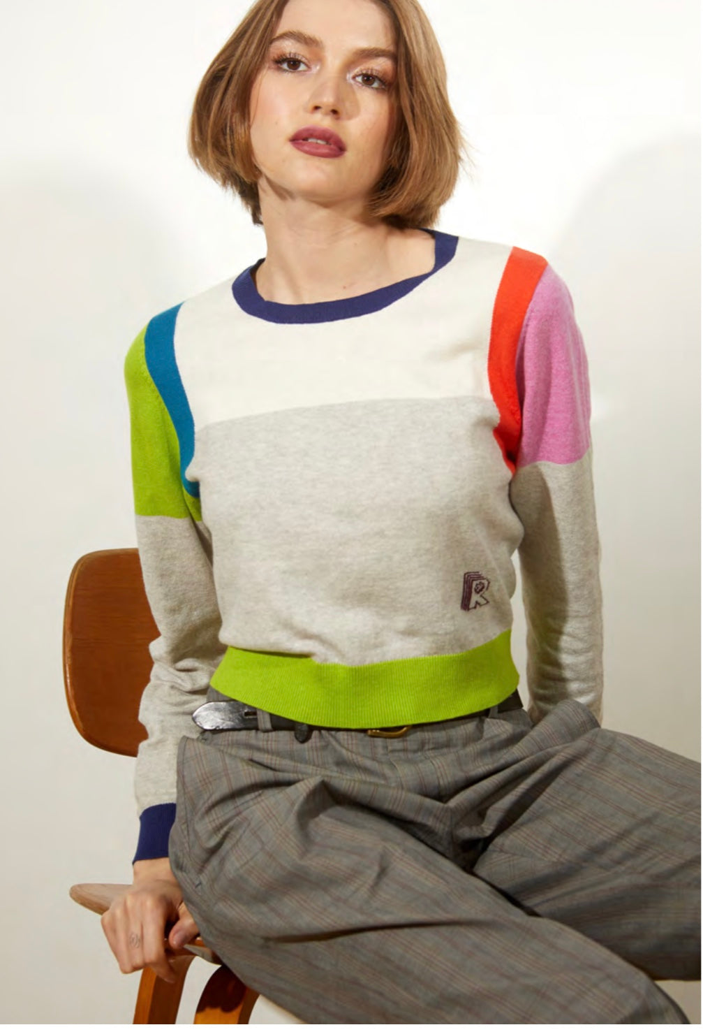 Cotton Cashmere Color Blocked Cropped Sweatshirt