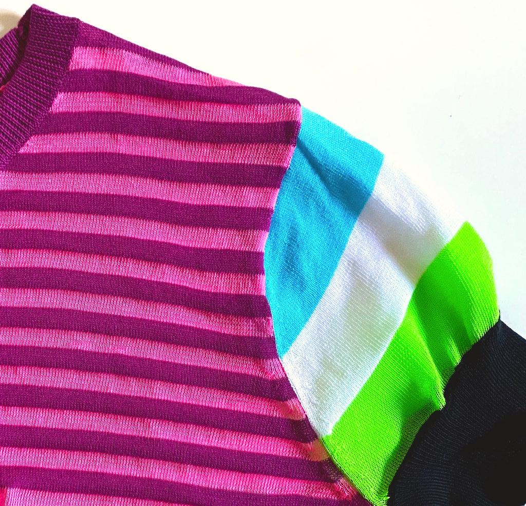 MIXED STRIPE SHORT SLEEVE SWEATSHIRT
