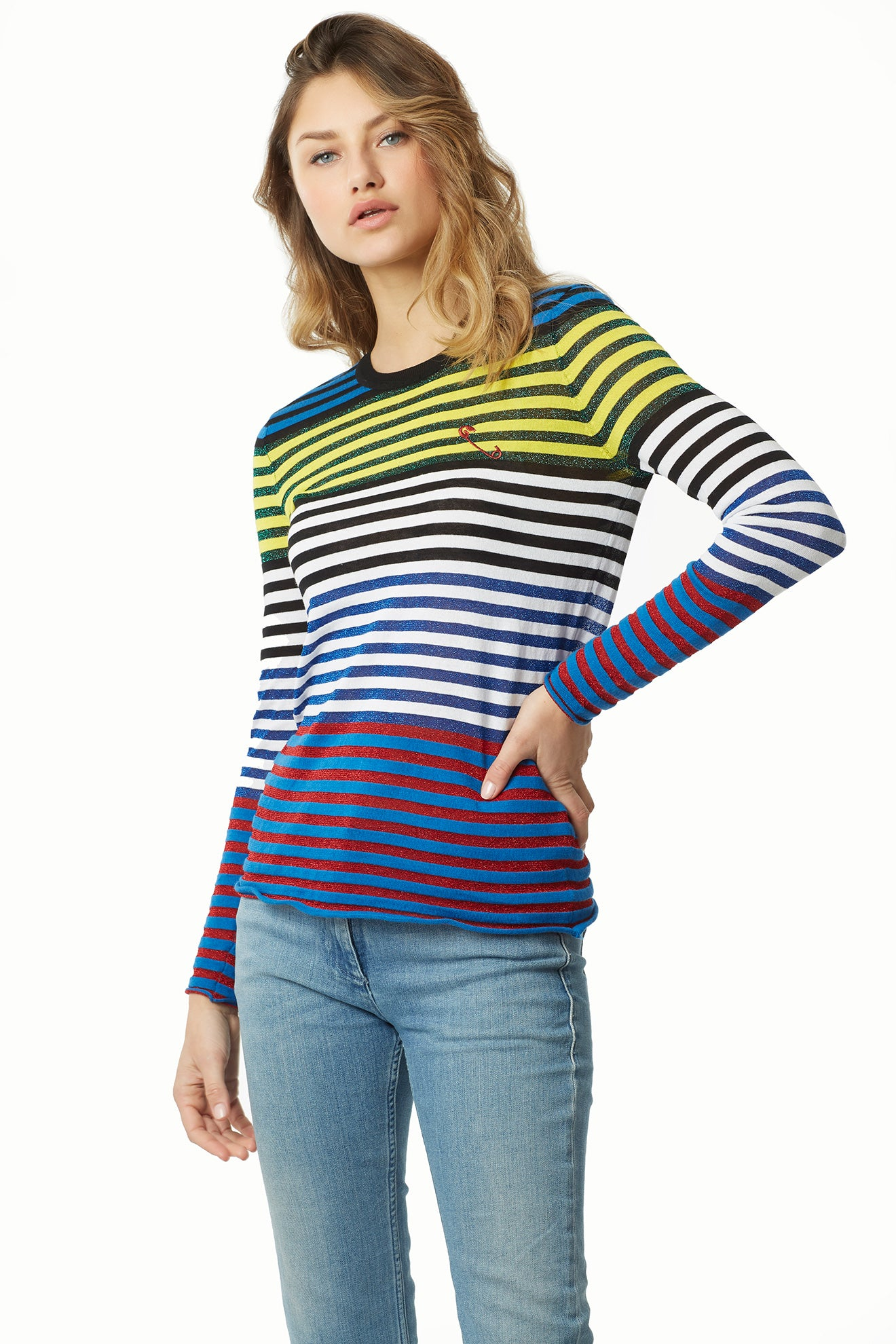Cotton Modal Lurex Cool Stripe Long Sleeve Tee