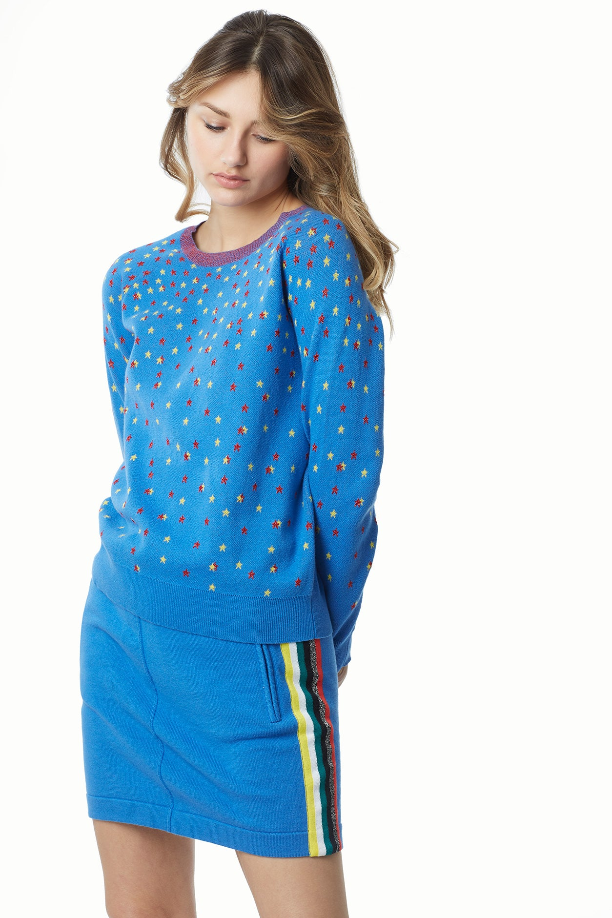 Mini Stars Cotton Lurex Jacquard Sweatshirt