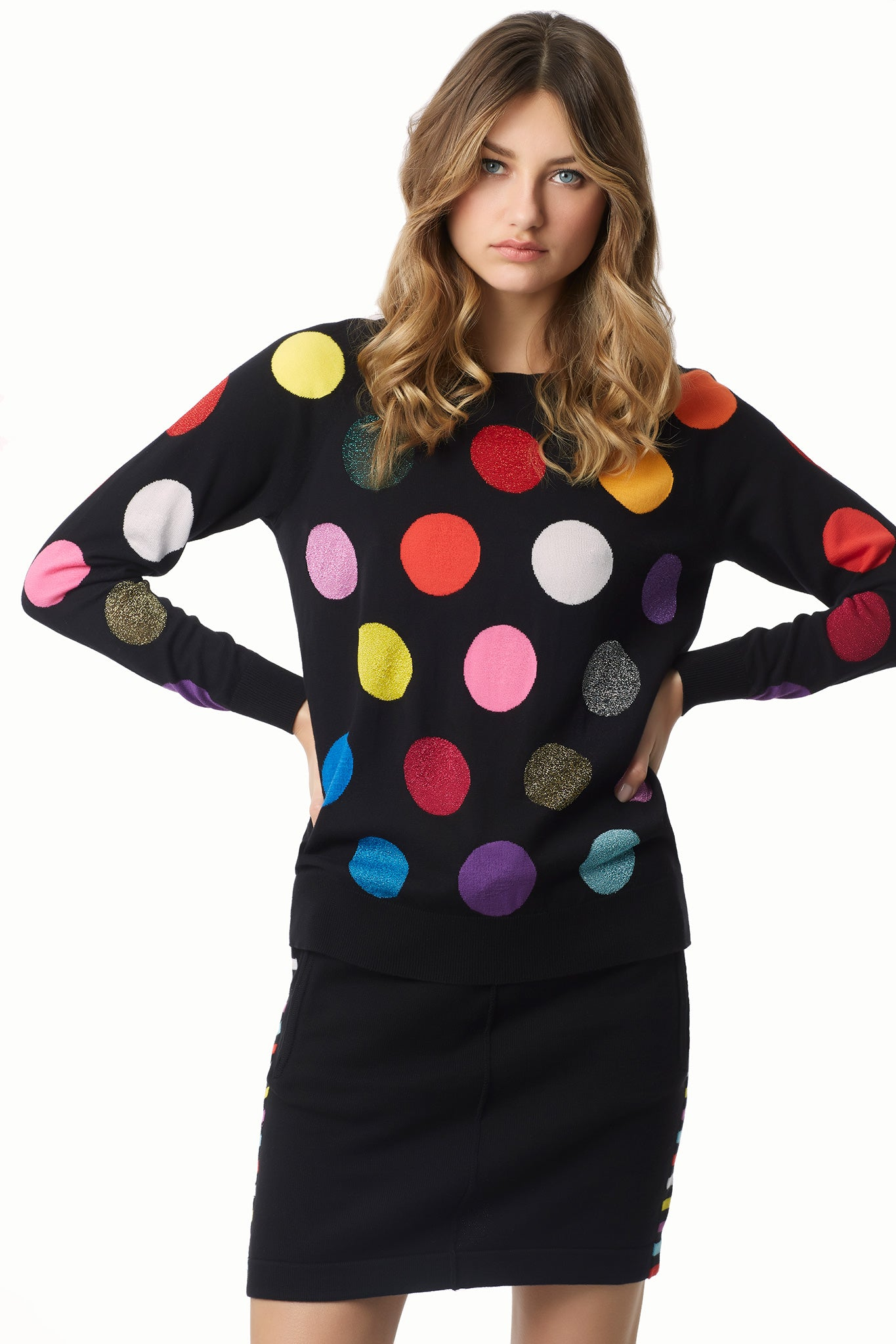 Dots Cotton Knit Sweatshirt