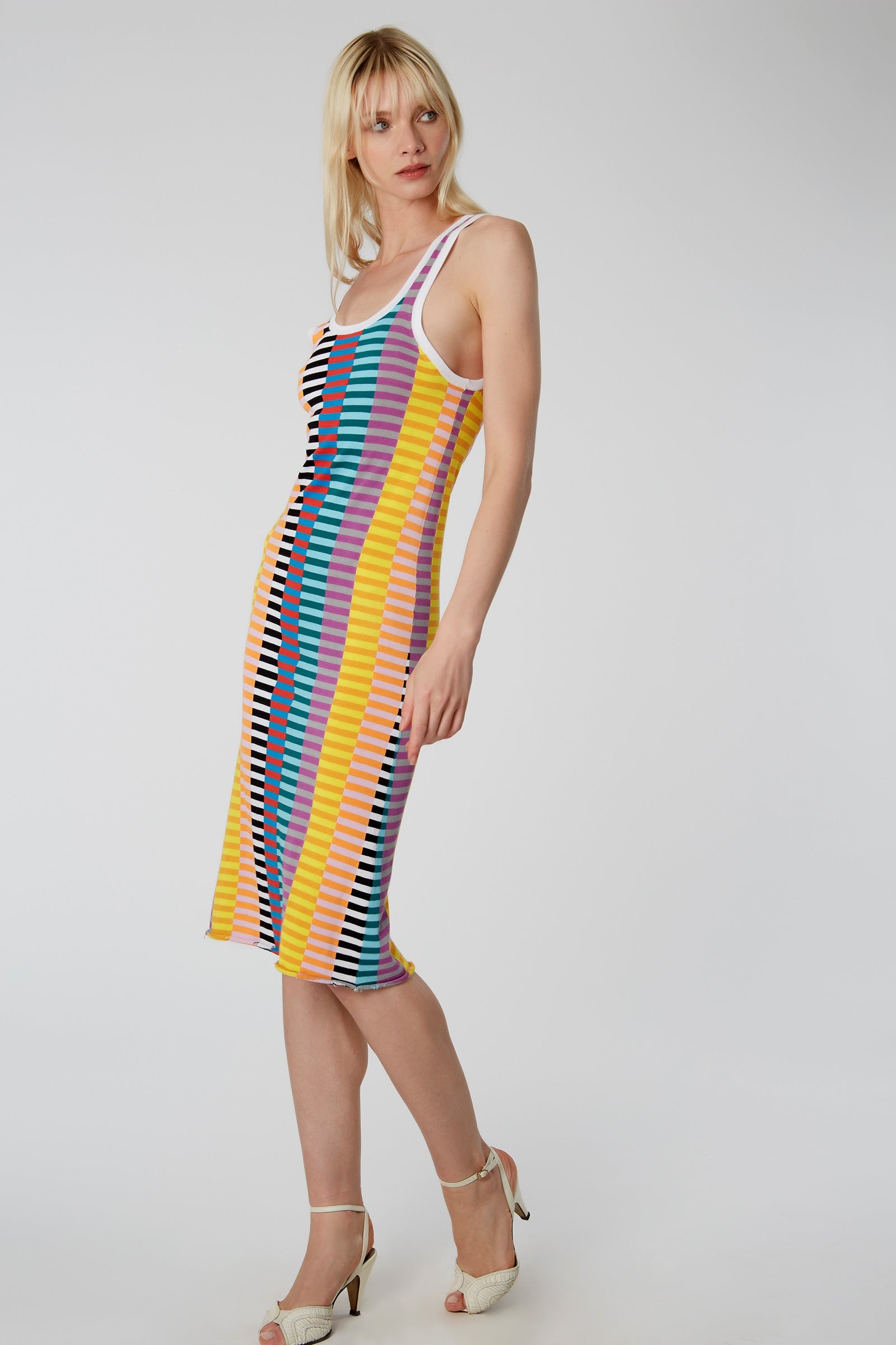 Offset Stripe Tank Dress