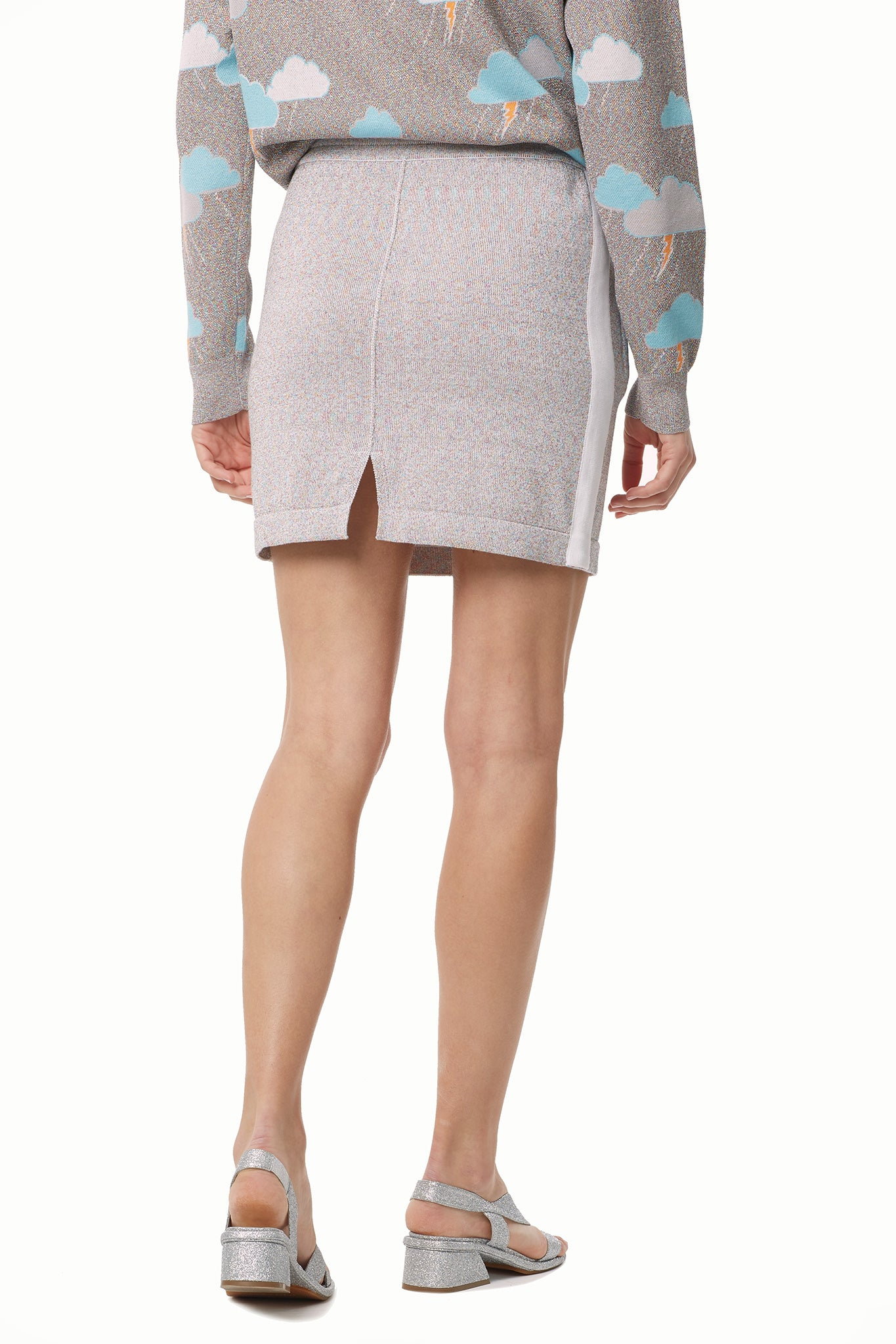 Lurex Cotton Modal Knit Track Skirt