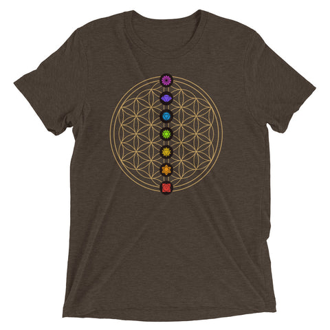 Image of 7 Chakra Flower Of Life Pendant | Unisex Tri-blend Tshirt