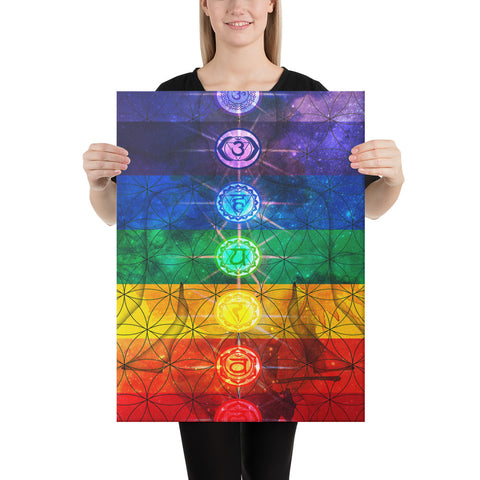Image of 7 Chakra Galaxy Awakening Canvas