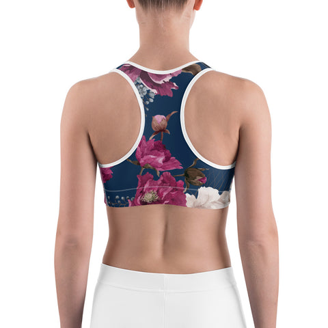 Image of Royal Floral Women's Sports Bra Top