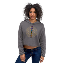 Load image into Gallery viewer, Flower of Life | 7 Chakras Crop Hoodie