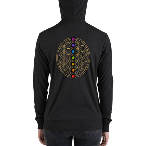 7 Chakra Flower of Life | Lightweight zip hoodie