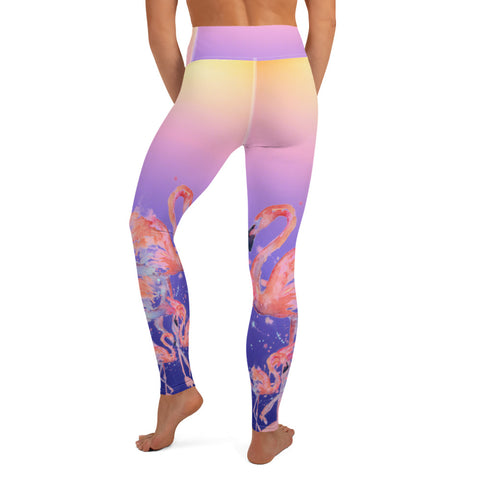 Pink Flamingo Summer Sunset Women's Yoga Leggings