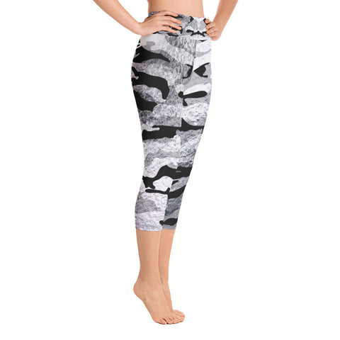 Metaliic Black and Silver Camo | Women's Capri Yoga Leggings