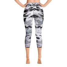 Load image into Gallery viewer, Metaliic Black and Silver Camo | Women's Capri Yoga Leggings