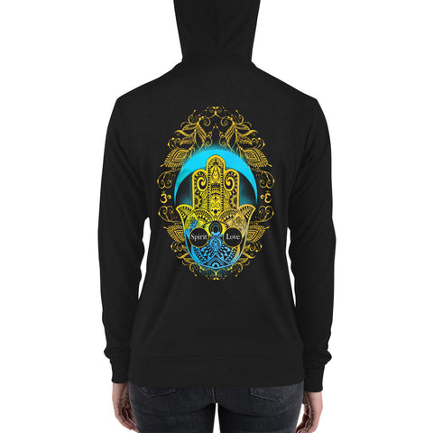 Image of Spirit Love Hamsa Hand | Lightweight zip hoodie