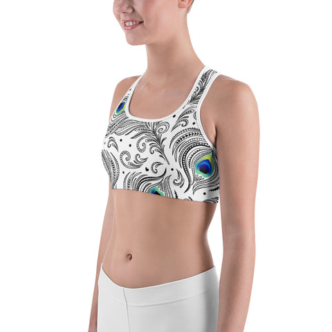Image of Peacock Feather  | White Sports bra