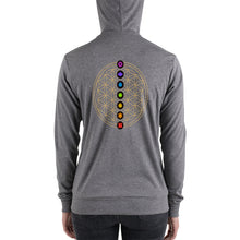 Load image into Gallery viewer, 7 Chakra Flower of Life | Lightweight zip hoodie