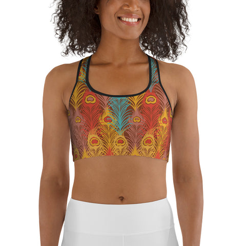 Red Peacock Feather Sports bra