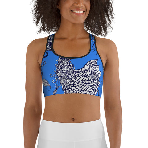 Image of Peacock Summer Women's Yoga Sports Bra Top