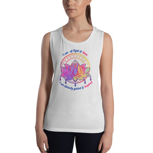 """I Am Of Light and Love"" Women's Muscle Yoga Tank Top 