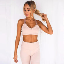 Load image into Gallery viewer, Pink Frill High Waist Yoga Set