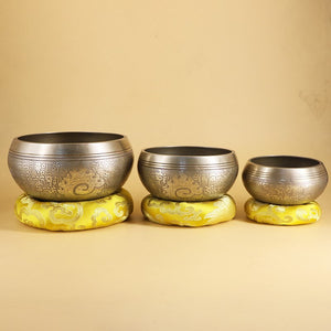 Nepal Handmade Tibetan Singing Yoga Bowl Set with Mallet