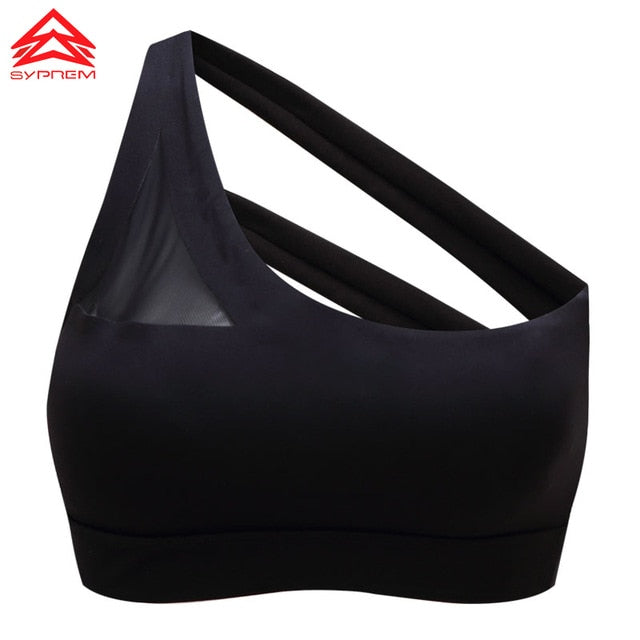 One Shoulder Mesh Yoga Sports Bra