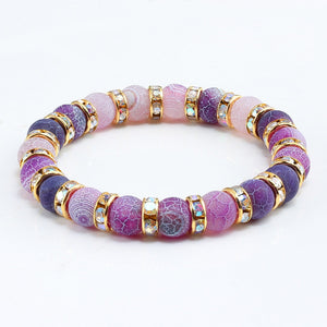 Purple Love Crystal Beaded Chakra Yoga Bracelet