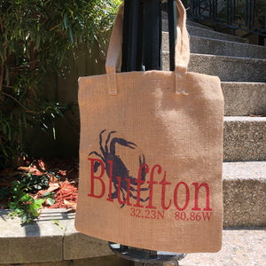"""Your Town"" Crab Burlap Tote"