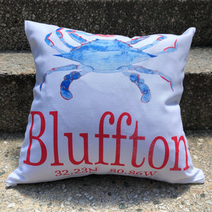 """Your Town"" Canvas Crab Pillow"