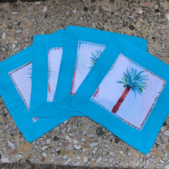 Palm Tree Watercolor Cocktail Napkins