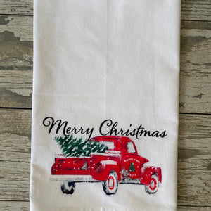Christmas Watercolor Truck Kitchen Towel