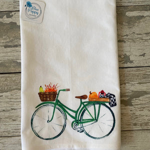 Fall Watercolor Bicycle Kitchen Towel