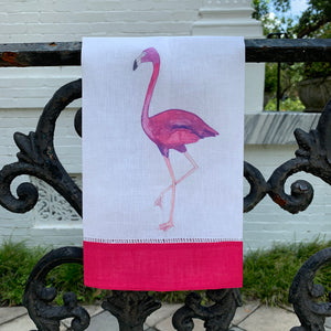 Flamingo Watercolor Linen Guest Towel