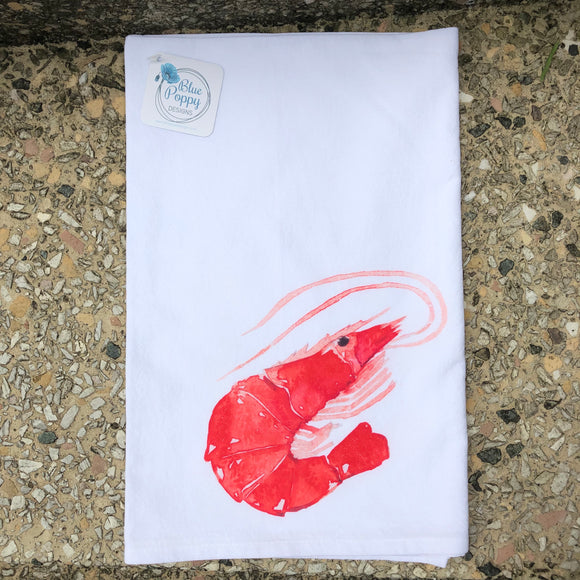 Shrimp Watercolor Towel