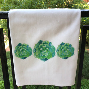 Succulent Watercolor Towel