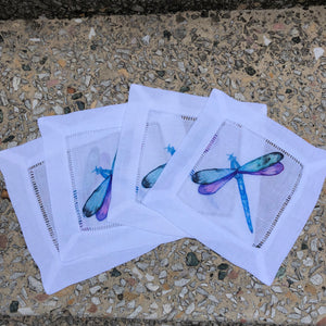 Dragonfly Watercolor Cocktail Napkins
