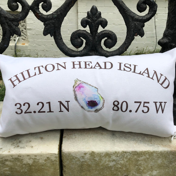 "White Linen ""Your Town"" Oyster Pillow"